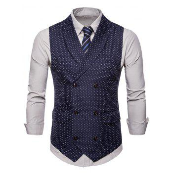 Double Breasted Back Belt Printed Waistcoat - CADETBLUE XL