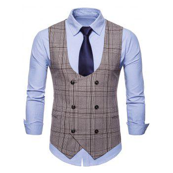 Double Breasted Plaid U Neck Waistcoat - COFFEE L