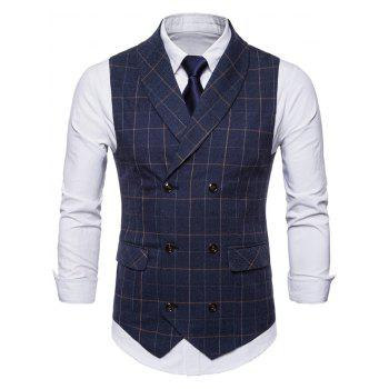 Shawl Collar Double Breasted Check Waistcoat - CADETBLUE M