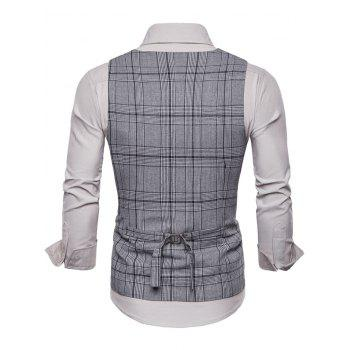 Double Breasted Plaid U Neck Waistcoat - LIGHT GRAY M