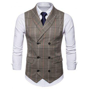 Shawl Collar Check Double Breasted Waistcoat - COFFEE XL