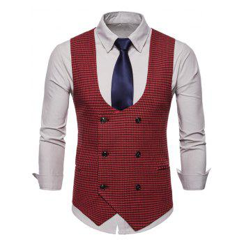 Double Breasted U Neck Houndstooth Waistcoat - RED XL