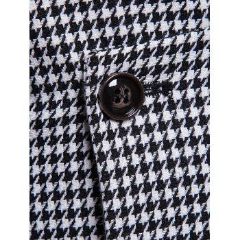 Double Breasted U Neck Houndstooth Waistcoat - MILK WHITE L