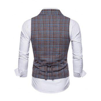 Double Breasted Lapel Collar Plaid Waistcoat - BLUE GRAY M