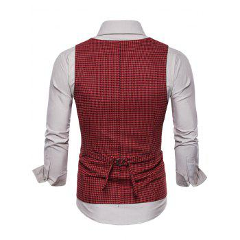 Double Breasted U Neck Houndstooth Waistcoat - RED M