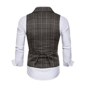 Check Single Breasted Lapel Collar Waistcoat - COFFEE XL