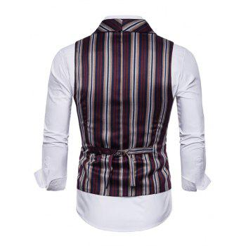 Stripe Double Breasted Shawl Collar Waistcoat - RED 2XL