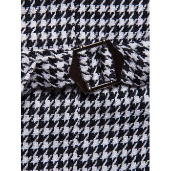 Double Breasted U Neck Houndstooth Waistcoat - MILK WHITE M