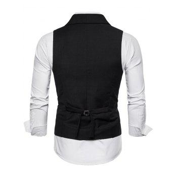 Double Breasted Shawl Collar Solid Color Waistcoat - BLACK 2XL