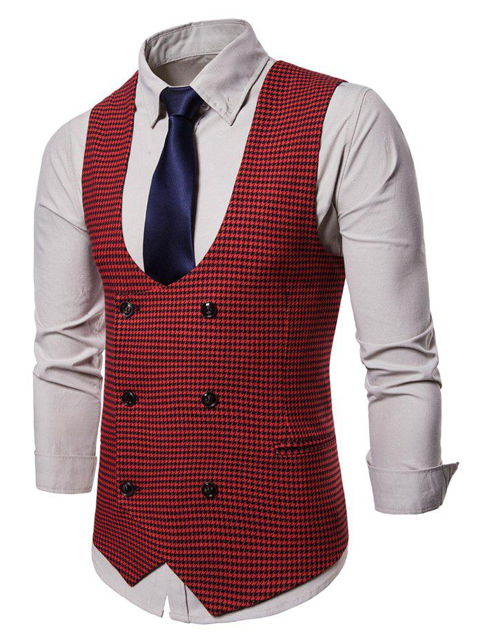 Double Breasted U Neck Houndstooth Waistcoat - RED 2XL