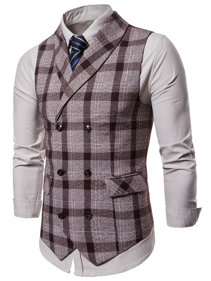 Plaid Shawl Collar Double Breasted Waistcoat - COFFEE 2XL