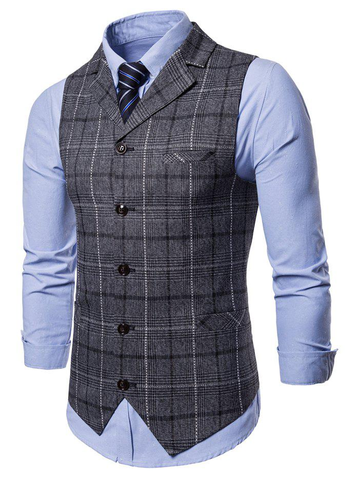 Check Single Breasted Lapel Collar Waistcoat - GRAY WOLF L