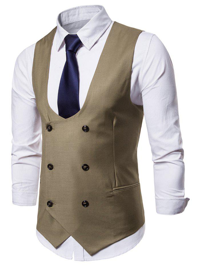 Solid Color Double Breasted U Neck Waistcoat - LIGHT KHAKI XL