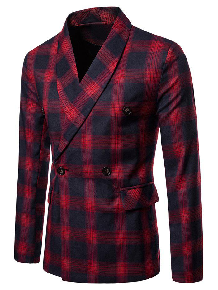 Shawl Collar Double Breasted Check Blazer - RED 2XL