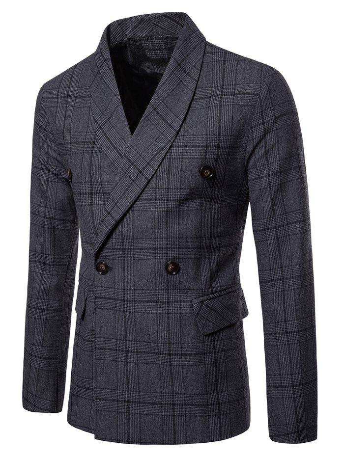 Plaid Shawl Collar Double Breasted Blazer - DARK GRAY L