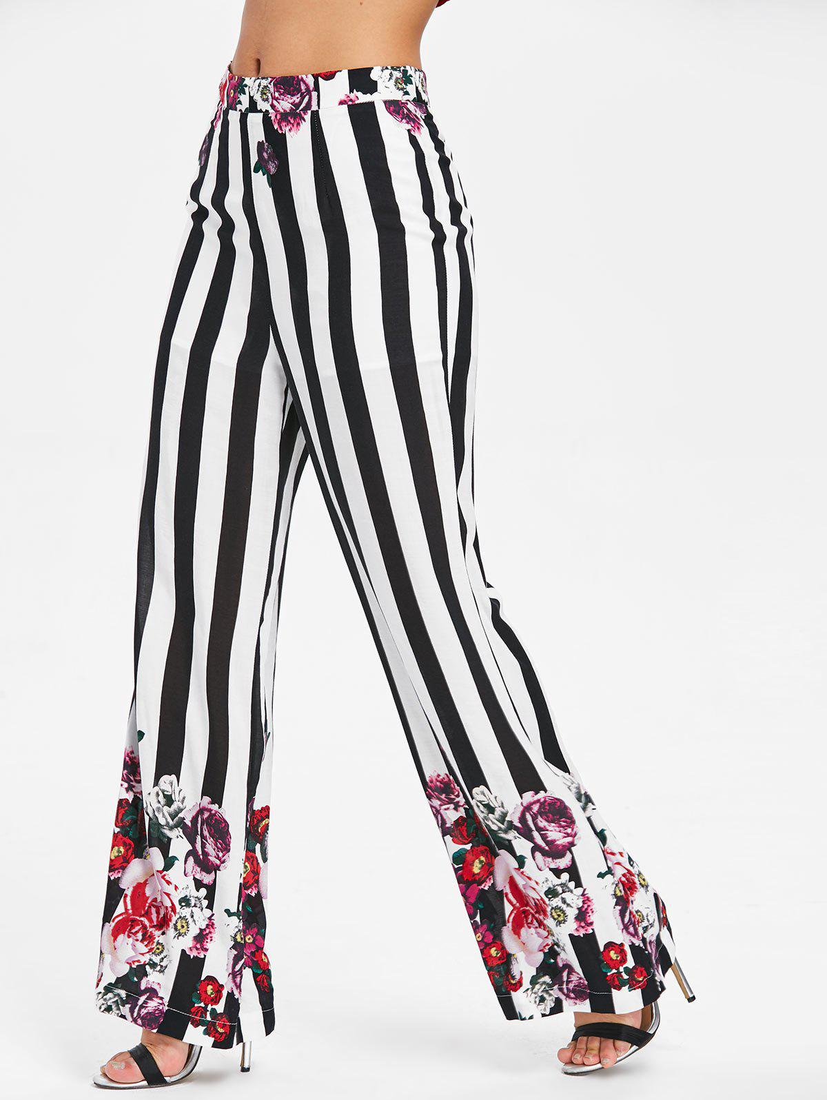 Striped Floral Print Palazzo Pants - WHITE 2XL