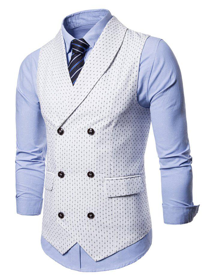 Double Breasted Back Belt Printed Waistcoat - WHITE M