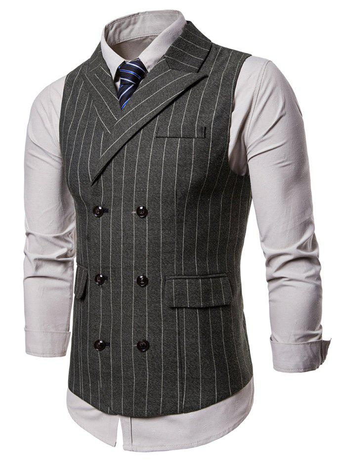 Lapel Collar Vertical Stripes Waistcoat - ARMY GREEN L