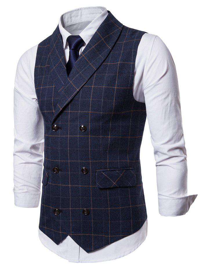 Shawl Collar Double Breasted Check Waistcoat - CADETBLUE L