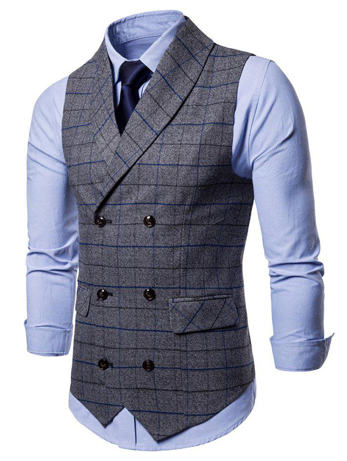 Shawl Collar Double Breasted Check Waistcoat - GRAY 2XL