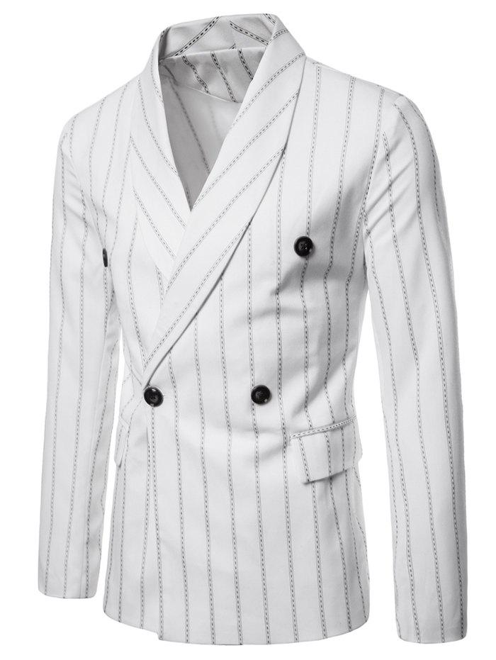Shawl Collar Stripe Print Double Buttons Blazer - WHITE 2XL