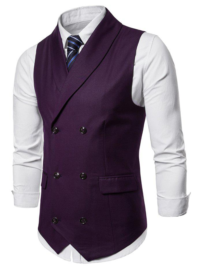 Double Breasted Shawl Collar Solid Color Waistcoat - MEDIUM VIOLET RED M