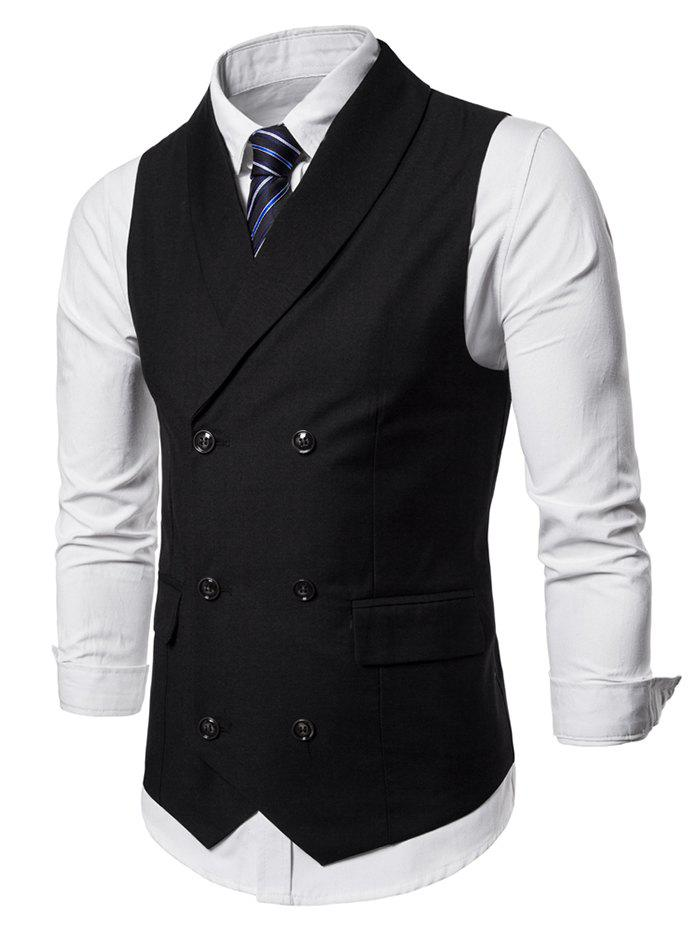 Double Breasted Shawl Collar Solid Color Waistcoat - BLACK XL