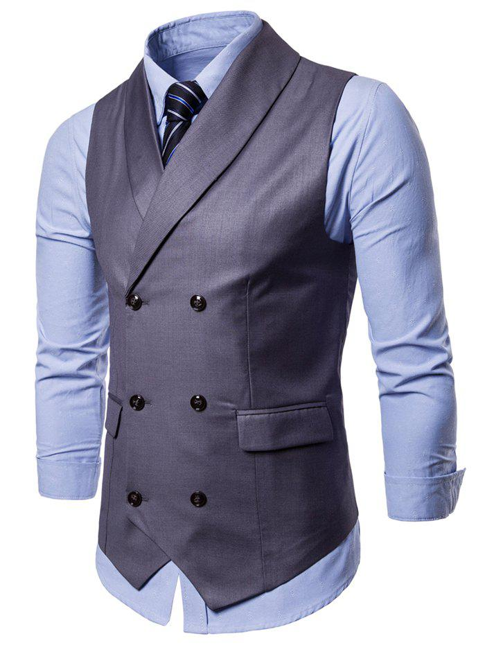Double Breasted Shawl Collar Solid Color Waistcoat - GRAY L