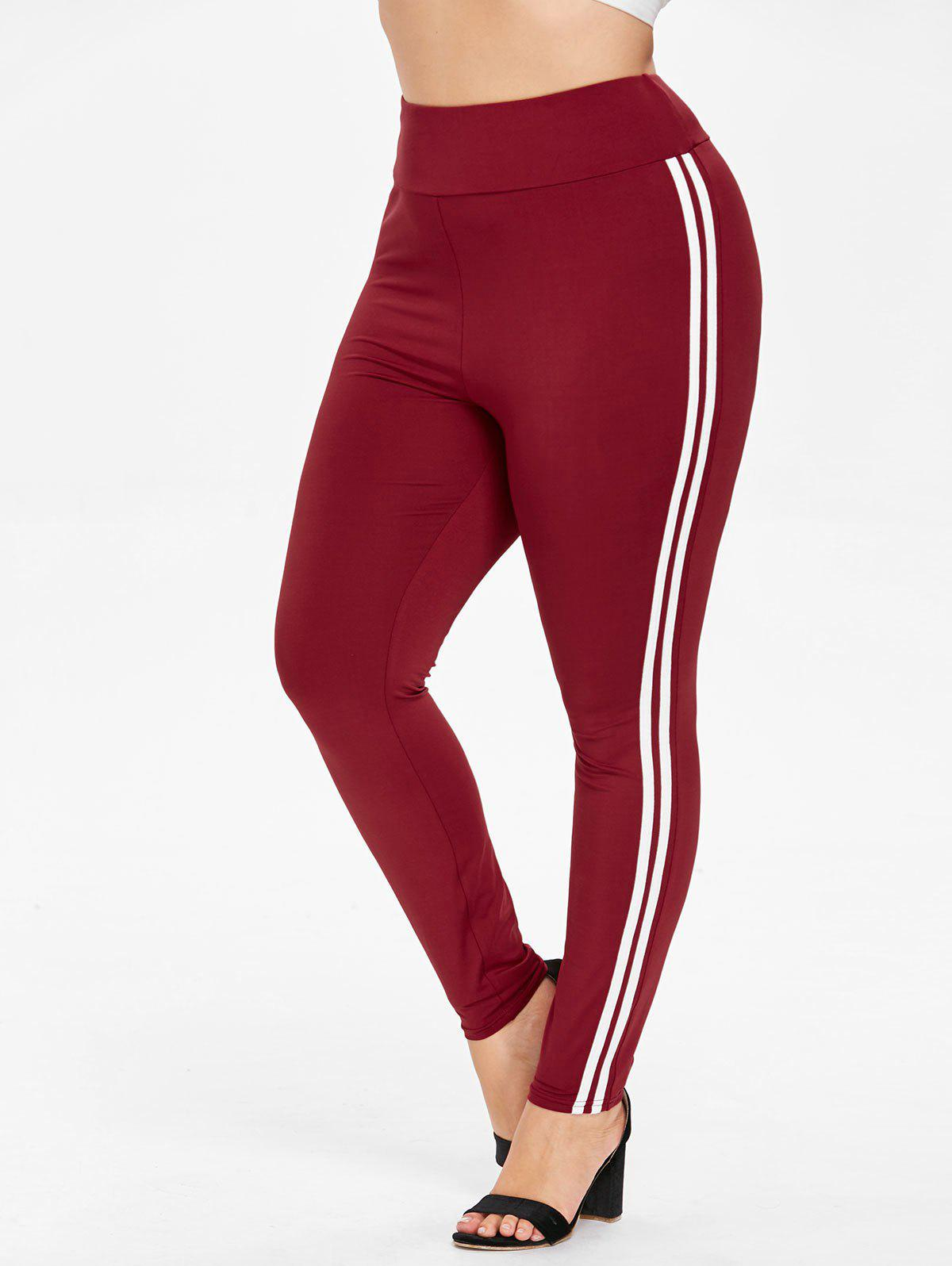 Plus Size Striped Side Leggings - RED WINE 2X