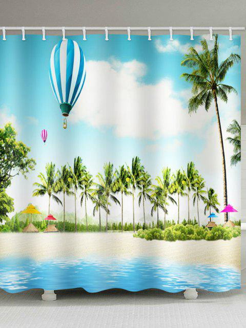 Coconut Palms Balloon Beach Scenery Print Shower Curtain - multicolor W71 INCH * L79 INCH