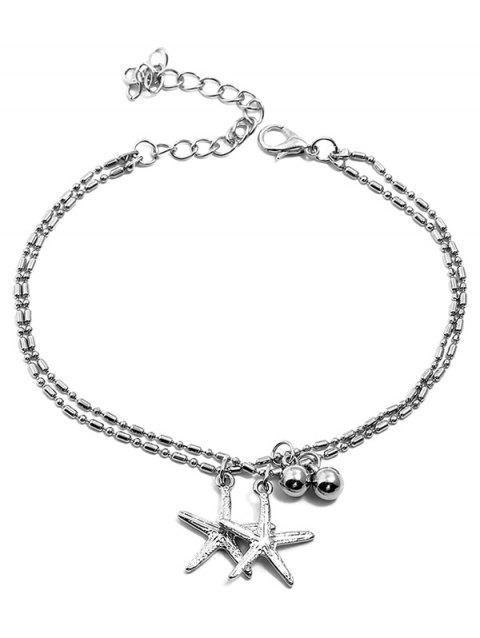 Starfishes Shaped Pendant Layer Beach Anklet Chain - SILVER