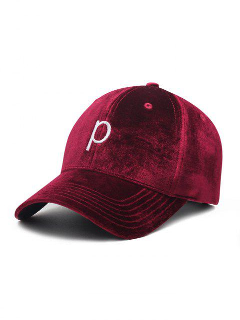 0f1c09d99c93 2019 Vintage P Embroidery Suede Graphic Hat In RED WINE