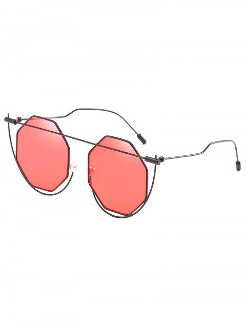 Stylish Irregular Frame Rhombus Lens Sunglasses - CHESTNUT RED