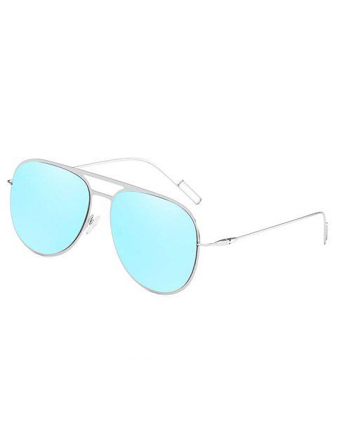 Hollow Out Alloy Frame Pilot Sunglasses - DAY SKY BLUE