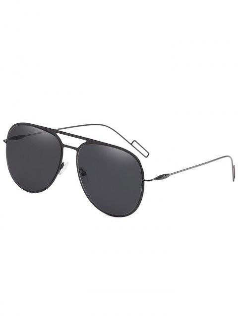 Hollow Out Alloy Frame Pilot Sunglasses - BLACK