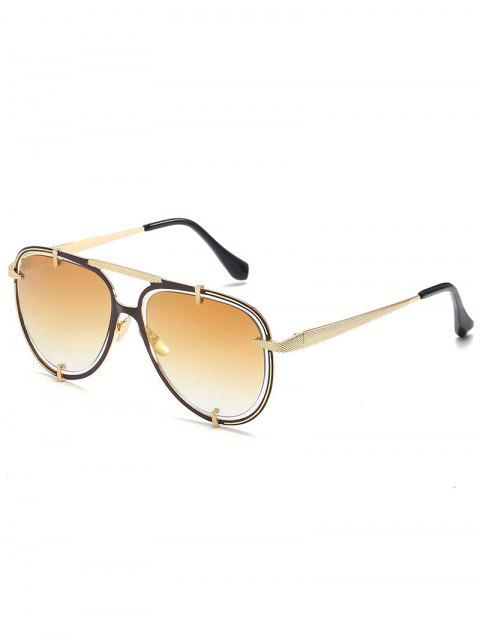 Stylish Hollow Out Frame Crossbar Sunglasses - CHAMPAGNE GOLD