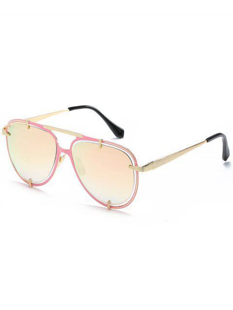 Stylish Hollow Out Frame Crossbar Sunglasses - PINK ROSE