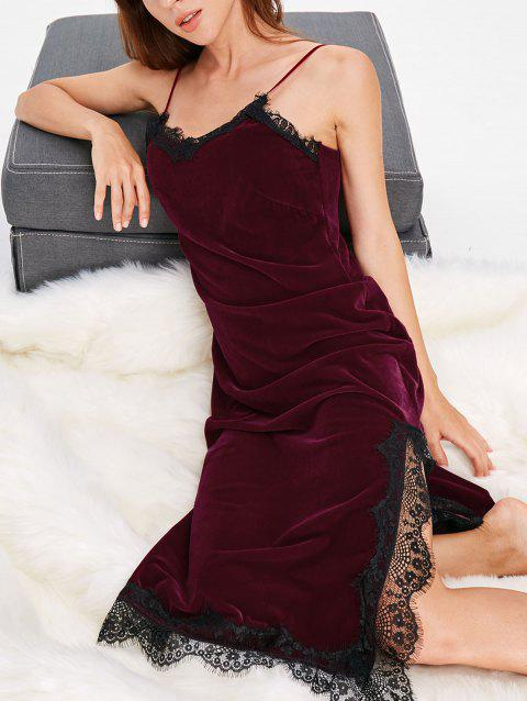 Robe Pyjama Slip En Velours Insertion Dentelle - Rouge Vineux XL