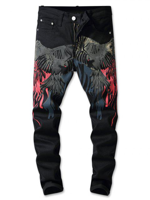 Flying Hawk Print Zip Fly Jeans - BLACK 36
