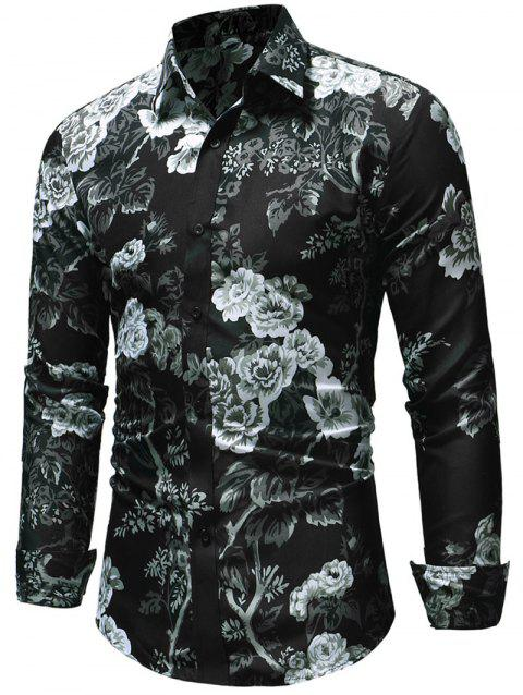 Button Up Allover Flower Print Shirt - multicolor M