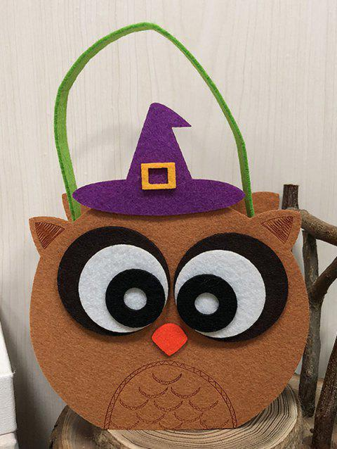 Halloween Pumpkin Witch Cat Owl Design Candy Handbag - LIGHT BROWN