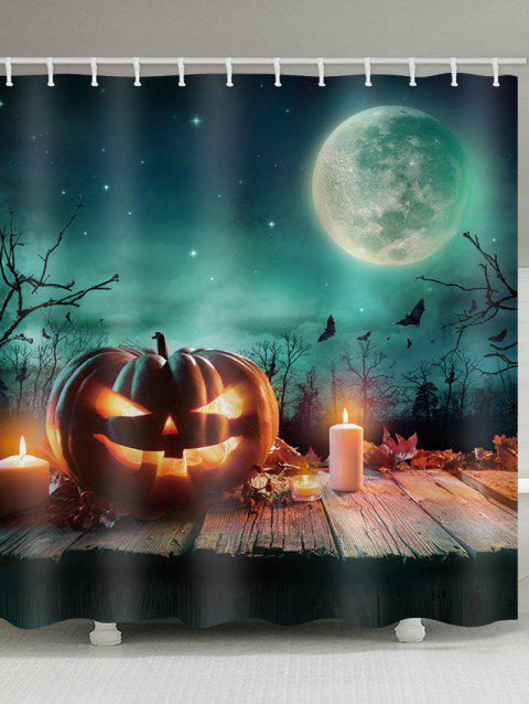 Halloween Moon Night Candles Pumpkin Lantern Printed Shower Curtain - multicolor W71 INCH * L71 INCH