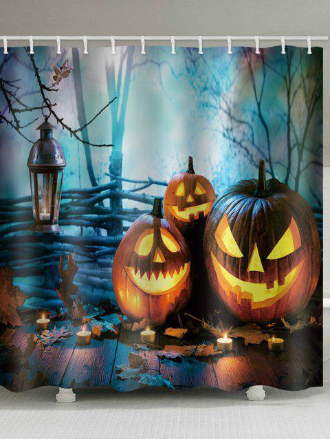 Halloween Forest Pumpkin Lanterns Print Shower Curtain - multicolor W71 INCH * L71 INCH