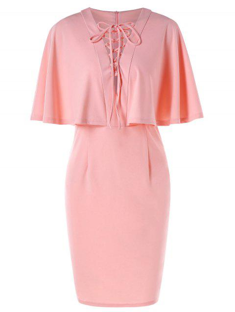 Lace Up Ruffled Capelet Sheath Dress - LIGHT PINK XL