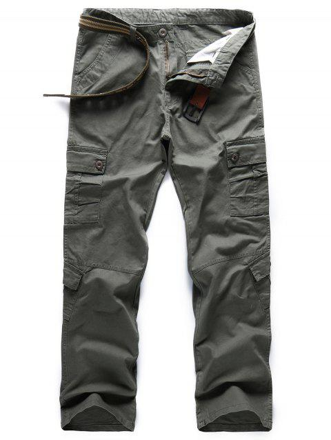 Solid Color Zipper Fly Cargo Pants - BEETLE GREEN 38