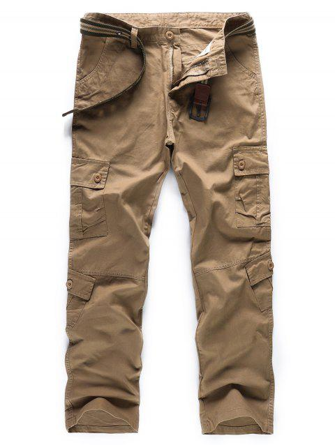 Solid Color Zipper Fly Cargo Pants - LIGHT KHAKI 32