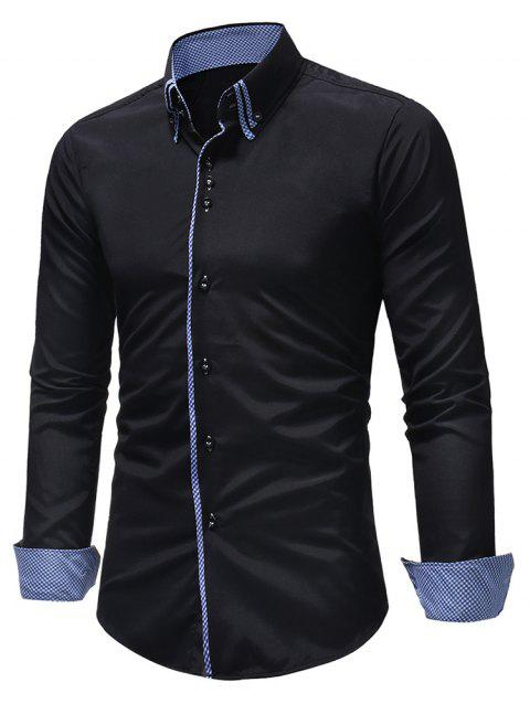 Double Layer Collar Button Down Patchwork Shirt - BLACK XL