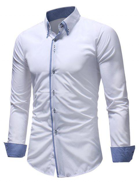 Double Layer Collar Button Down Patchwork Shirt - WHITE XL