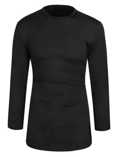 T-shirt de Base Long en Couleur Unie - Noir XS