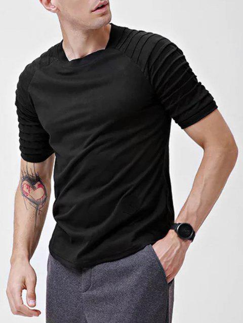 Solid Color Patch Detail Pleated Short Sleeve T-shirt - BLACK S